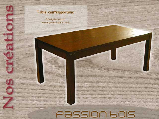 Table contemporaine en châtaignier oxydé
